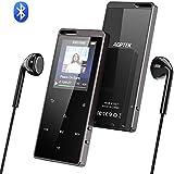 AGPTEK 16Go Hi-FI MP3 Bluetooth 4.0 en Métal, Lecteur Musique Réduction de Bruit Baladeur de Bouton Tactile avec Podomètre, Enregistrement, Radio FM et Trou de Cordon, Soutient Carte SD 128Go-X15 Noir