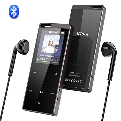 """Bluetooth MP3 Player, AGPTEK 16GB Digital Musik Player, 1.8\"""" TFT Bildschirm Audio Player mit Kopfhörer, UKW Radio, Schrittzähler, Schlaftimer und Sprachaufnahme Speicher Erweiterbar bis 128GB"""