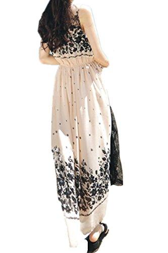 Monissy Femmes Robe En Mousseline De Soie Imprimée Eté Sans Manches Jupe Bohème Jupe De Plage Nouvelle Multicolore 10