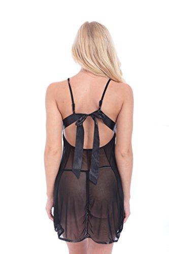 haodasi Frauen nutzen Low-Cut transparente Art und Weise Kleid / reizvolle Wäschespitzehosenträger Black