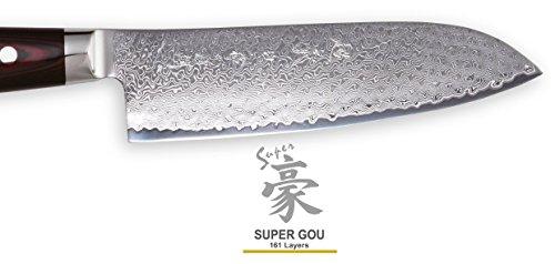 Damastmesser Yaxell SUPER GOU 161 – Kochmesser 20cm Klinge – Schnittkern aus Pulverstahl 63HRC + Schneidbrett - 6