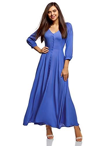 oodji Ultra Damen Maxi-Kleid mit Knöpfen, Blau, DE 32 / EU 34 / XXS