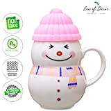 Era Of Décor Ceramic Mug, Ceramic Cup For Baby, Ceramic Cup With Lid, Cute Snowman Cup For Kids, Snowman Mug With Lid, Coffee Mug, Milk Cup For Babies 400 ML, Pink, Christmas/New Year Gift