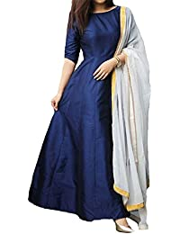 Purva Art Girls Navy Blue Tapeta Silk Stitched Long Gown With Dupatta For Women (PA_2605_Navy Blue_Tapeta_Stitched_JFW...