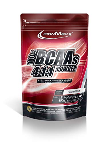 IronMaxx BCAA 4:1:1 - Hochkonzentrierte Aminosäuren für Muskelaufbau und Muskelerhalt - Vitamin B6 - Wenig Kohlenhydrate & Zucker - Himbeer-Geschmack - BCAA Pulver - 550g Beutel