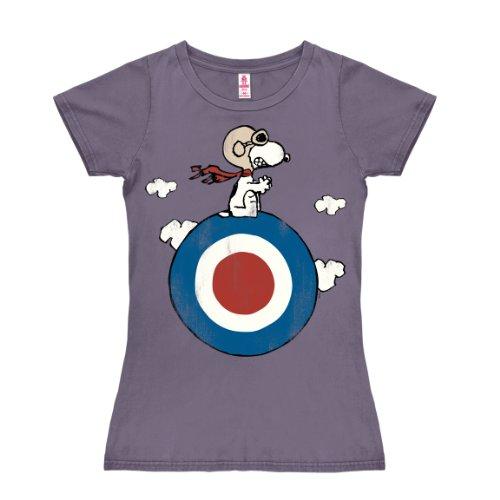 Peanuts - Snoopy Pilot - Snoopy Target T-Shirt Damen - lavendel - Lizenziertes Originaldesign - LOGOSHIRT, Größe L (Damen-t-shirts Lavendel)
