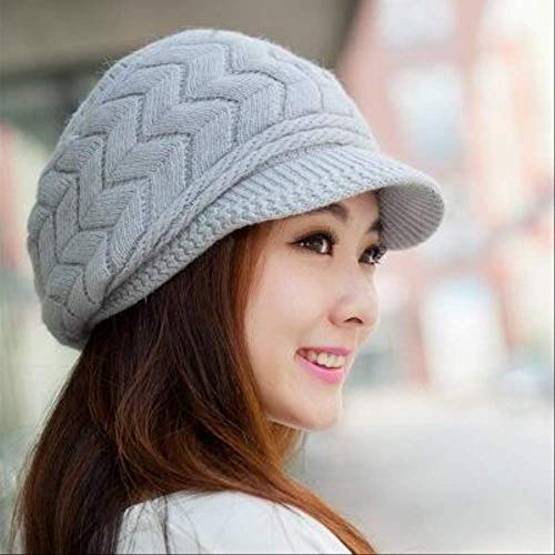 CHZDSB Strickmütze Knitted Hat Women Winter Hats for Women Ladies Beanie Girls Bonnet Femme Warm Hat 56Cm-58Cm Grey -