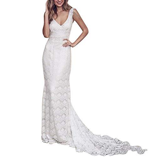 Lang Kleider,Frauen Schatz Volle Spitze V Ausschnitt Reizvolles Rückenfreies Strand Hochzeitsfest Langes Kleid Evansamp(Weiß1,XL) ()