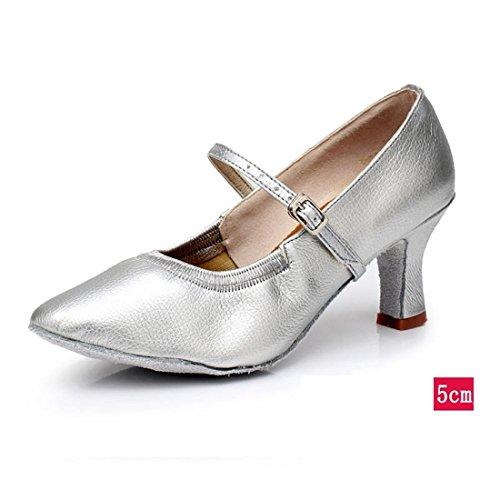 Wxmddn Femme Danse Moderne Argent Chaussures Chaussures De Danse Femme Adulte 5 Cm Talon Haut Chaussures De Danse D'intérieur Semelles Souples Chaussures De Danse Quatre Saisons Argent 5 Cm Intérieur