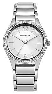 Karen Millen SKM003SM - Reloj de cuarzo para mujeres con esfera de plata y correa plateada de aleación de Karen Millen