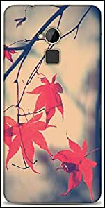 Snoogg Nature Leaves Red Designer Protective Back Case Cover For HTC One-Max