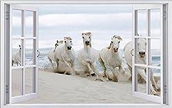 Pferde am Strand Pferd Tier Wandtattoo Wandsticker Wandaufkleber F0477 Größe 70 cm x 110 cm