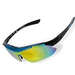 ShareWe Sportbrille Polarisierte Sonnenbrille Unisex Radbrille UV-Schutz Fahrradbrille mit 4 Wechselgläser für Radfahren Fahren Golf Baseball Volleyball Fischen (Weiß + Blau) XDDKD9nAb