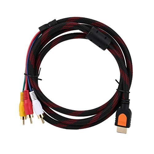 YRD Tech HDMI-Stecker auf 3 RCA AV Audio Video Kabel Adapter für TV HDTV DVD 1080p, 3 Meter, schwarz