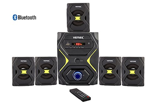 Vemax Plush 5.1 Bluetooth Multimedia Speaker Home Theater System With FM, USB, AUX, MMC (Black & Fluorescent Yellow)  available at amazon for Rs.2790