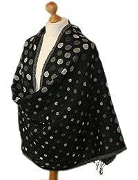 Grey wool scarf with Jaquard Multi coloured Polka dot pattern 860-G (GREY)