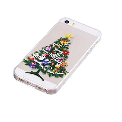 iPhone 5S / SE / 5 Copertura,Bella Weihnachtsmann ogni Pattern Ultra sottile Custodia in TPU Gel [Transparent] Copertura posteriore in gomma flessibile Copertura protettiva Case for iPhone 5S /SE /5 colour 6