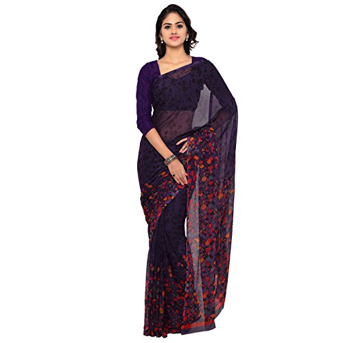 Vaamsi Chiffon Saree with Blouse Piece (Empress1052_Purple_One Size)