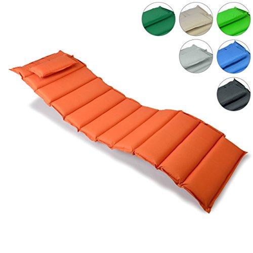 Liegen-Auflage Polster Kopfkissen für Sauna Garten Terrasse aufrollbar orange