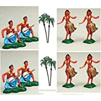 CakeSupplyShop Packaged 12 Hawaiian Island Dancers & Musicians Hula Cupcake Toppers with 6 Palm Trees