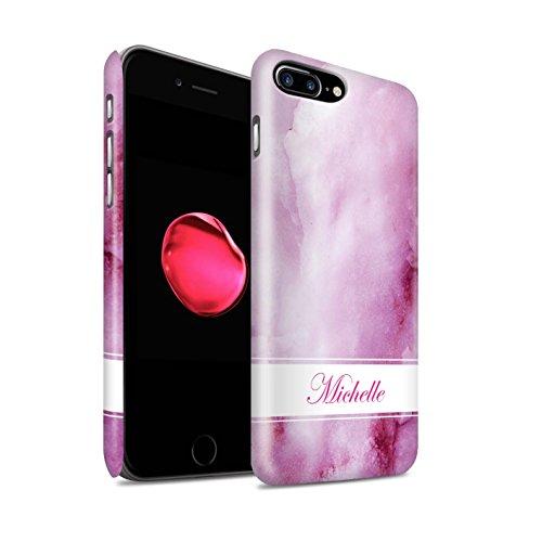 Personnalisé Marbre Personnalisé Matte Coque pour Apple iPhone 7 Plus / Jaune Tourbillon Bannière Design / Initiales/Nom/Texte Etui/Housse/Case Clipser Bannière Rose & Violet