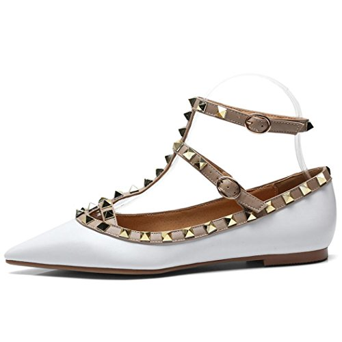 RENJUN Frauen Spitzen flachen Mund Flache Freizeitschuhe Nieten Mode T Wort mit Punk Damenschuhe Mode mit einzelnen Schuhe Damenschuhe Fersen (Color : White, Size : 39 EU)