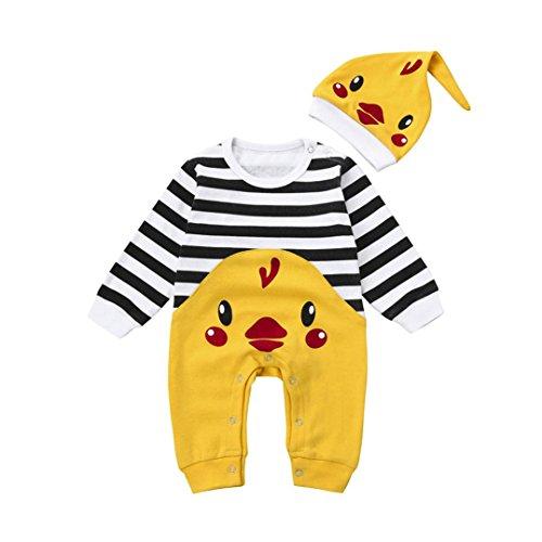 abys Erste Weihnachten Streifen Entzückende Winter Tier Jungen Mädchen Overall + Hut Set Outfits (6 Monate, Gelb) (Elmo-mädchen-kleidung)