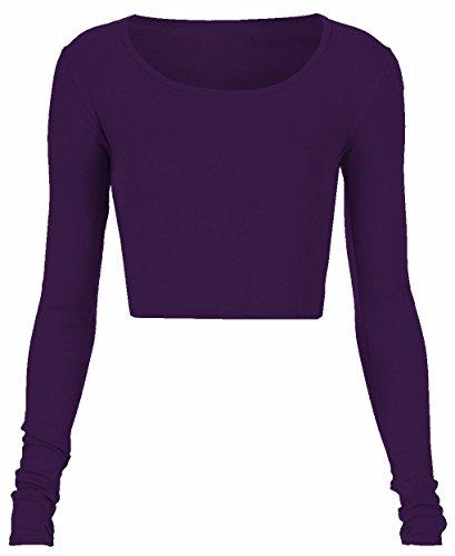 Damen Crop Top-Stars Long Sleeve Damen T Shirt Kurzarm-T-Shirt Rundhalsausschnitt, ärmellos, Gr. 34 bis 40 Violett - Violett