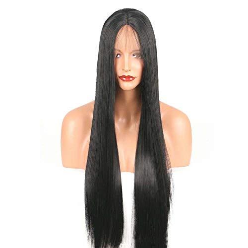 YuLinStyle Europäische und amerikanische Chemiefaser Front Lace In der Differenzierung der Perücke Schwarzes Haar Puppenhaar Langes Haar kann gefärbt Werden Perücke Perücke Spitze vorne (Size : 18