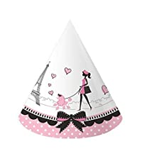 Creative Converting 24 Count Party in Paris Paper Hats, Child Size, Pink/Black