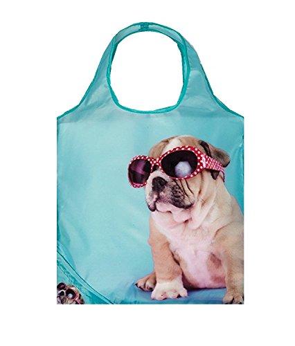 Einkaufstasche ,Tasche , Shopper - Tiere - Hund - Katze verschiedene Motive (Bulldogge mit Brille)