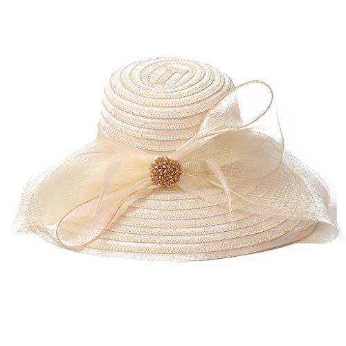 ZXPzZ Sonnenhüte Für Damen Breiter Krempe Faltbare Einstellbare Sommer Floppy Stroh Strand Hut UV-Schutz Stroh Cowboy Hut Stroh (Color : Beige)