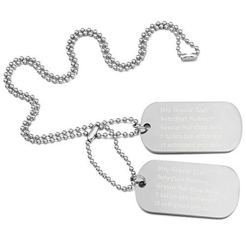 MeMeDIY Silber Ton Edelstahl Anhänger Halskette Doppel Doppelseitig Dog Tag 23 Zoll Kette,mit Kette Gravur