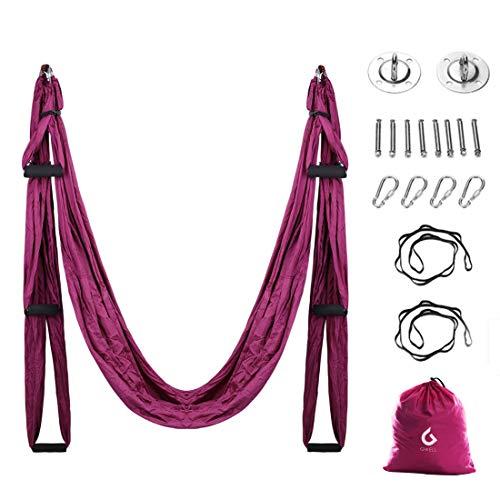 GWELL Aerial Yoga Yoga Hängematte Set Yoga Swing Silk Hammock Fitness Anti Schwerkraft Anti Gravity Schwingen Air Fliegen für Inversionsübung Pilates Gymnastik (Violett)