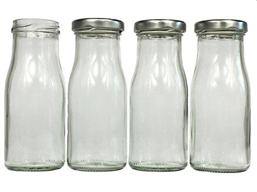 Glasflaschen Set mit Schraubverschluss Silber | 15 teilig | Füllmenge 150 ml | Epical Saftflaschen Setzen Sie ganz einfach Schnäpse und Liköre an