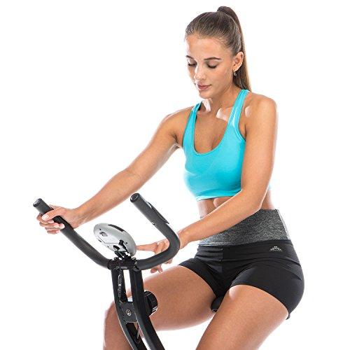 skandika Foldaway X-1000 Lite Fitnessbike Heimtrainer X-bike F-Bike Klappbar mit Handpuls-Sensoren, 8-stufiger Magnetwiderstand, LCD Display max. 110kg Grau/Schwarz - 3