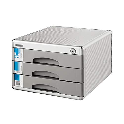 Aluminiumlegierung Aktenschränke Mit Schloss Datenspeicherschrank Büro Schublade Datei Box (12in * 14.4in * 8.2in) -