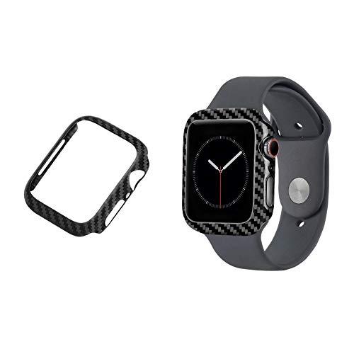 qichenlu [Extrem Leicht] Schwarz Carbon Fiber Apple Watch 44mm Rahmen Case, 0,6g Apple Watch Hülle Kohlefase Uhr Gehäuse Schale Stoßfest Bumper kompatibel mit iWatch 44mm Carbon Fiber Hard Case
