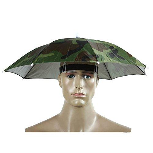 Hosaire 1x Gummizug Kopfschmuck Regenschirm Hat Elastische Kopfbedeckung Angelschirme für Angeln, Garten, Fotografie, Wandern (Grün)
