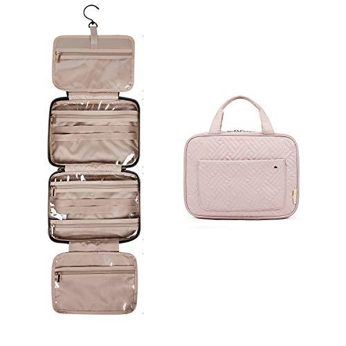BAGSMART Kulturtasche zum Aufhängen, Damen Kulturbeutel Reise Waschtasche Transparent für Makeup, Toilettenartikel (Rosa)