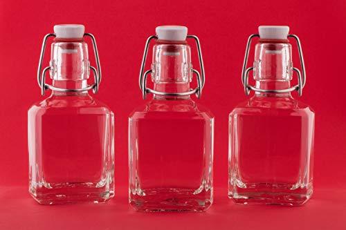 SLK - Botellas de cristal con tapón de brida (8 unidades, 200 ml, altura 12,9 cm)