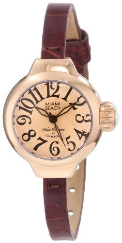 Glam Rock Miami Beach Art Deco MBD27085 26mm Stainless Steel Case Brown Calfskin Mineral Women's Watch