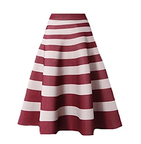 Tootlessly Womens Stripes Trumpet High-waisted Vintage Retro Midi Skirt Red S