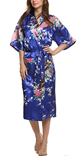Avidlove Kimono Satin Robe de Chambre Femme Longue Fleur Chemise de Nuit Taille 38-50 M-XXL Bleu foncé