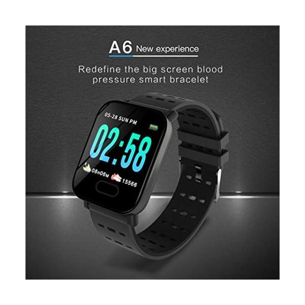 Pulsera inteligente con monitor de actividad física, pantalla de color A6, Bluetooth, monitor de ritmo cardíaco, podómetro, pulsera inteligente para niños, mujeres y hombres azul 5
