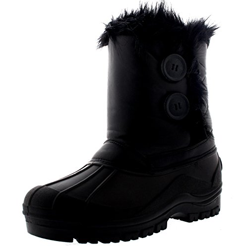 Polarr Polar Damen Twin Button Ente Muck Regen Winter Mitte Wade Stiefel - Schwarz Leder - UK7/EU40 - YC0406 (Winter-wetter-stiefel)