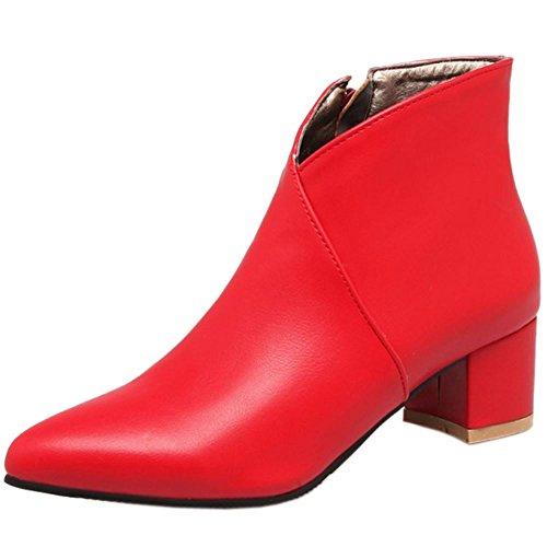 RAZAMAZA Moda Botines Tacon Ancho Medio para Mujer (38 AS, Red)