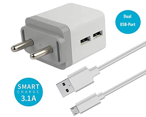K N DIGITAL Dual Port 3.1 Amp Fast Wall Charger Compatible with Samsung I9301I Galaxy S3 Neo Charger with 1 Meter Micro USB Data Cable-White