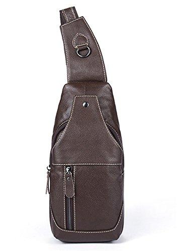 Soft-laminiert (Leder Tasche für Männer Männer Brust Tasche Retro Trend oblique straddle Freizeit Tasche Männer Schultertasche Vertikale square Soft- und verschleißfesten Reißverschlusstasche, Kaffee)