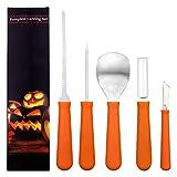 SINBLUE Kit di strumenti per intagliare zucca di Halloween - Attrezzi per zucca in acciaio inox per impieghi gravosi (più 10 motivi per intagliare le zucche) per efficienza mentre intagli la zucca, Jack-O-Lanterns - Tagli, asini, raschietti, seghe, anelli